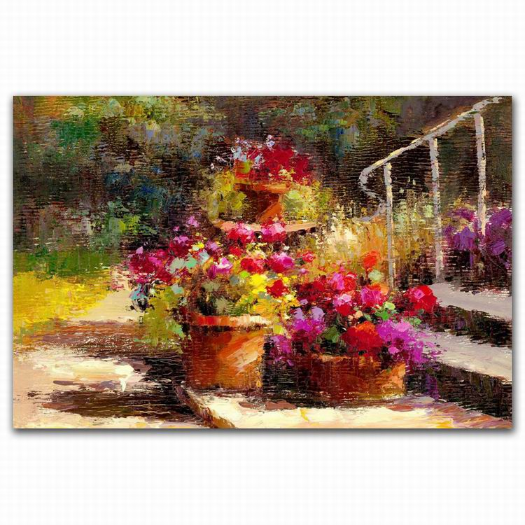 reproduction hot abstract garden scenes flowers oil paintings for living room