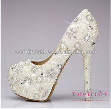 2013 New Handmde Sexy Crystal with Pearl High Heel Platform Pumps Bridal Shoes