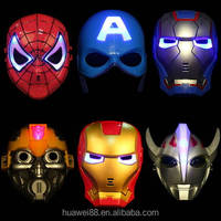 Large In stock cheap LED Spiderman LED Masks Light Batman Spider Man Captain America Hulk Iron Man Mask For Kids Adults Party