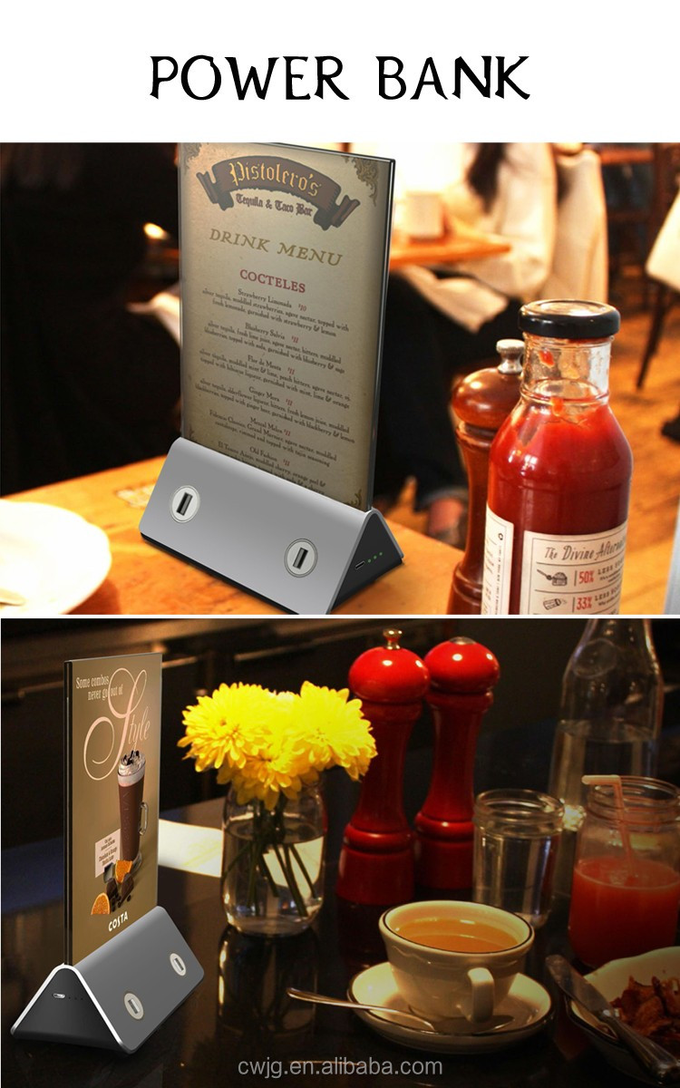 Best design menu holder power bank 10000mAh for restaurant