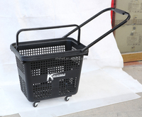 top quality best price handle multifuncation plastic shopping basket with wheels