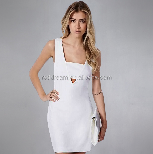2015 White Cutout Sexy Short Sleeve Party Bandage Dress H1185