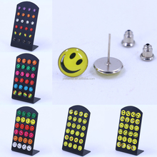 Free Shipping Small Wholesale Lot Cheap Fashion Jewelry 8mm 10mm Oil Dripping Smile Face Cartoon Piercing Earrings