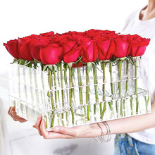 Wholesale 9 Holes Clear Plastic Square Custom Luxury Acrylic Rose Flower Box With Lid Clear Acrylic Flowers Box Factory