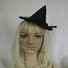 black mini witch hat mesh hair band hat with bowknot