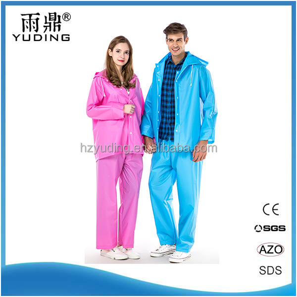 High Quality Adult Breathable Two Pieces Waterproof Adult Plastic Raincoat