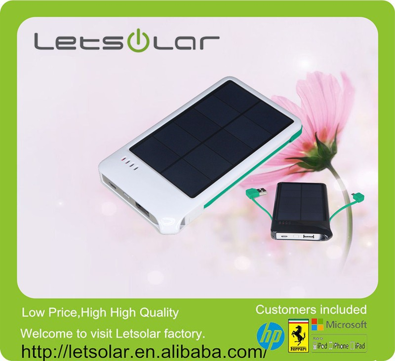 4000mAh rechargeable solar cell power bank solar mobile phone charger with built-in charging and discharging cable