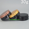 30g empty black plastic jar with gold screw cap aluminum cover, cosmetic packaging