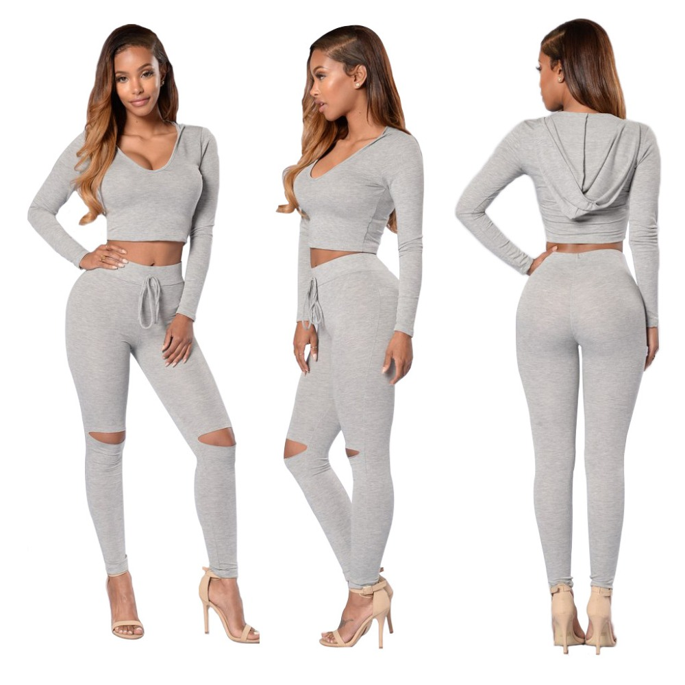 ZH0850C Short Sleeve Hole Hooded Top Pants 2 Piece Sport Set Tracksuit
