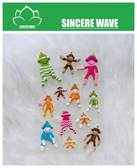 Colorful Monkey Puffy Sticker for kids toy stick on book