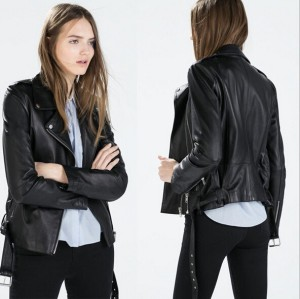 EY0098A 2015 factory fashionable plus size clothing chiffon faux leather moto jacket women's leather jacket