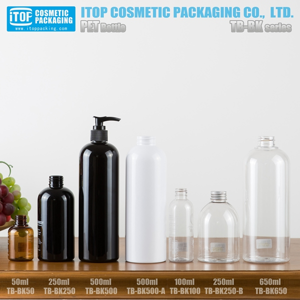 TB-BK series plastic bottle 500ml micellar water black 150ml pet bottles skin care boston empty cosmetic olive oil bottles 500ml