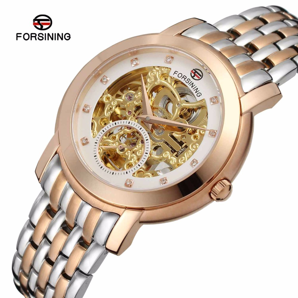 FORSINING <strong>097</strong> Forsining Men Mechanical Watch Stainess Steel Steel self Wind Watches Transparent Steampunk Montre Wristwatch
