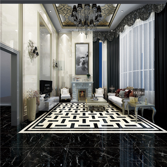 Shopping Mall Glossy Porcelain Polished Black Interior Ceramic Tiles