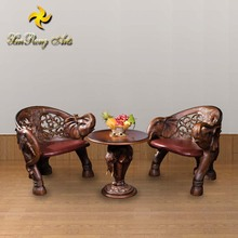 Antique home furniture elephant decor coffee table and chairs set