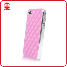 Wholesale High Quality Pink Sheep Skin Quilted Hard Case for iphone 4 With Chrome