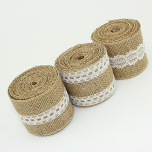 lace jute ribbon in 100% jute cloth with lace