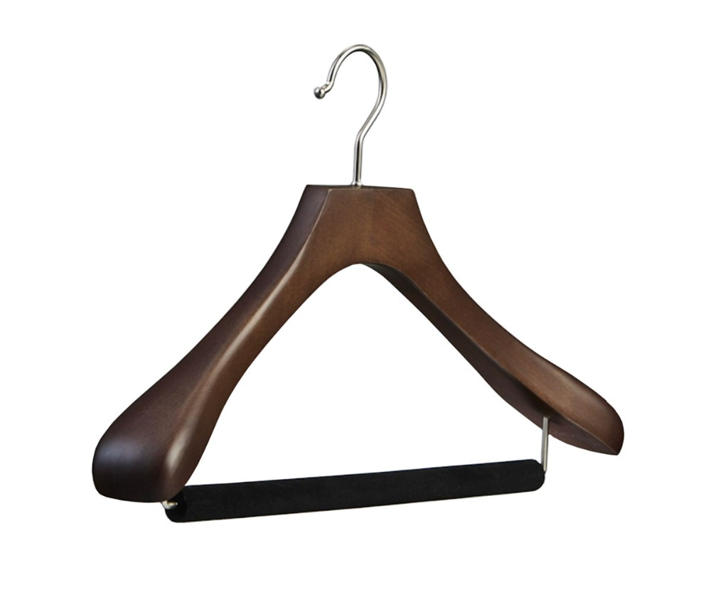 heavy grand wooden suit hanger with velvet trouser bar