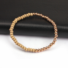 Fashion minimalist 18k rose gold silver plated nugget beads macrame bracelet