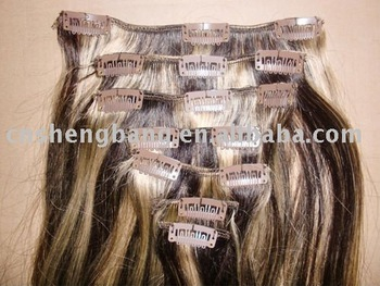 clips in hair extension 4/613# good quality remy hair clips in hair