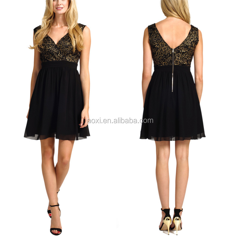 OEM China Supplier V -Back Sexy Womens Black and Gold Mini Sequin Dress