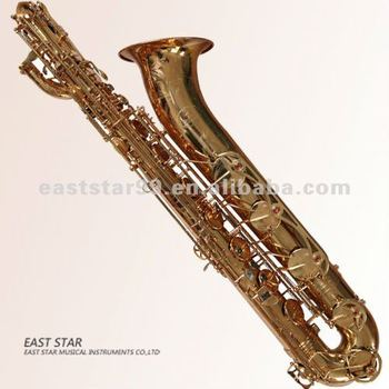 gold lacquered baritone saxophone