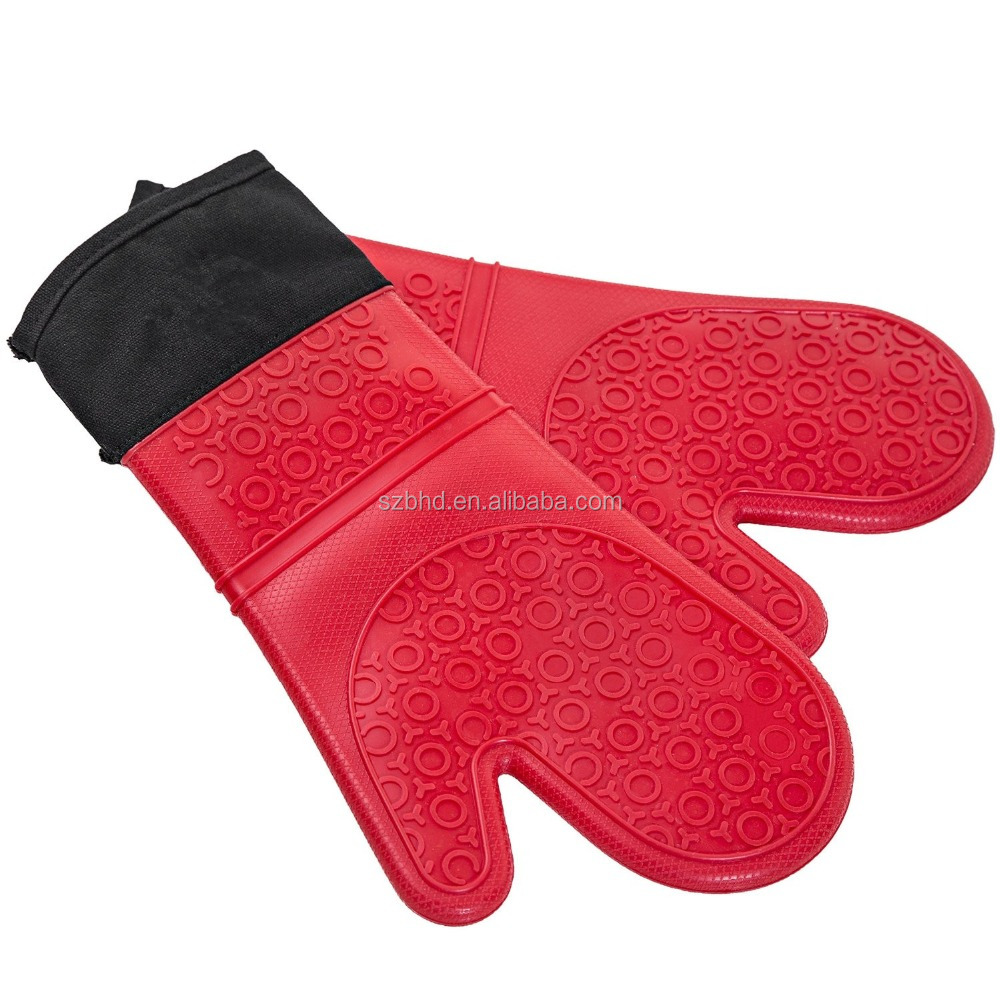 Heat Resistant Silicone Oven Mitt with Quilted Liner for Extra Protection