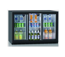 300L Commercial Three Sliding Back Bar Mini Fridge showcase Under Counter Beverage Beer Glass Door Refrigerator