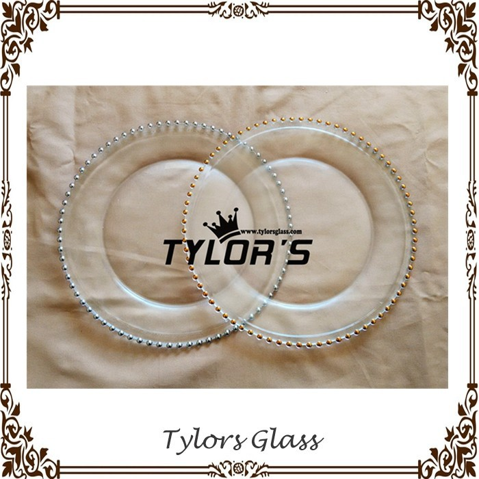 Cheap Silver And Gold Beaded Glass Charger Plates By Tylors
