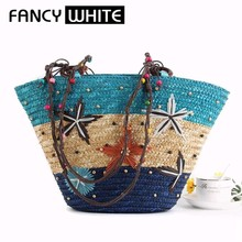 Wholesale colored painting recycled shoulder ladies summer straw basket bag