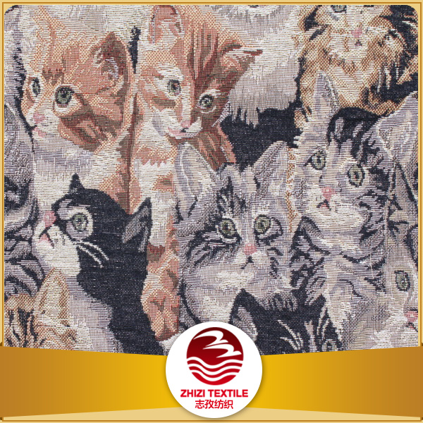 Polyester cotton gobelin tapestry cat design bag fabric by upholstery fabric cat tapestry