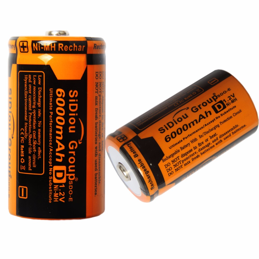 Sidiou Group 6000mAh 1.2V Rechargeable Ni-MH Battery No. D Or No.1 Rechargeable Battery Ni-MH Universal Battery(D type)