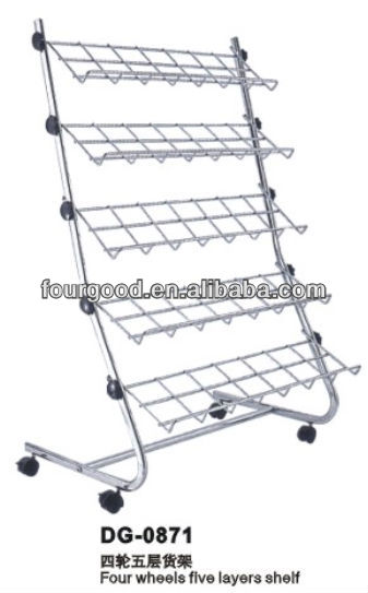 Adjustable folding 5 tier stable metal shoe rack