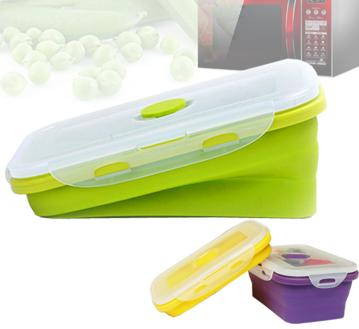 Amazon Kitchen Items Custom cheap 350ml silicone collapsible hot Space food saving storage