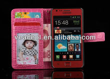 Clear ID Card Holder Croco Style Wallet PU Leather case with Stand for Samsung Galaxy S2 i9100