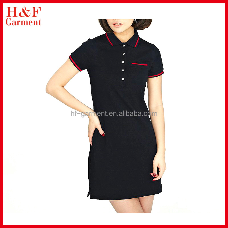Blank women t-shirt polo shirt dress breathable cotton pique fabric