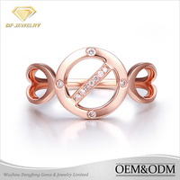 Hot sale rose gold jewelry fashion zircon ring vip customized 925 sterling silver white zircon stone rose gold ring