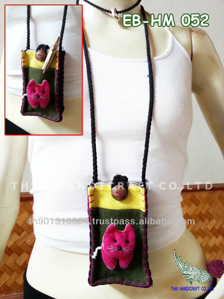 Thai Handmade Cat Call Phone bag Mobile bag