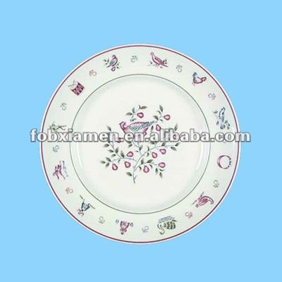ceramic handmade painting round dinner plates for hotel