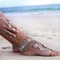 2016 Ladyfirt New Summer Barefoot Sandals Foot Jewelry Antique Silver Fashion Coin Anklet Bracelet For Women 3311