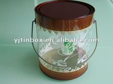 PVC round plastic paint can with tinplate bottom and cap/clear plastic paint box with handle/round empty plastic paint container