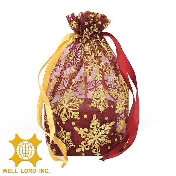 Customized gift gold filigree luxury organza drawstring pouch