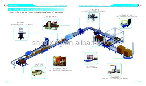 automatic online packing complete production line (carton open, loading, tape sealing, strapping)
