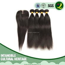 Unprocessed Virgin Peruvian Hair Extensions 10inch 3PCS Silky Straight Natural Color With 1PCS Lace Clousure