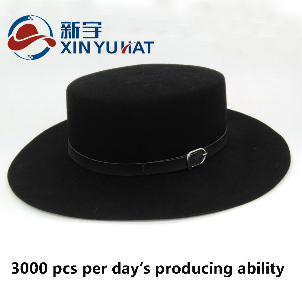 factory popular custom design wool felt flat-top hat