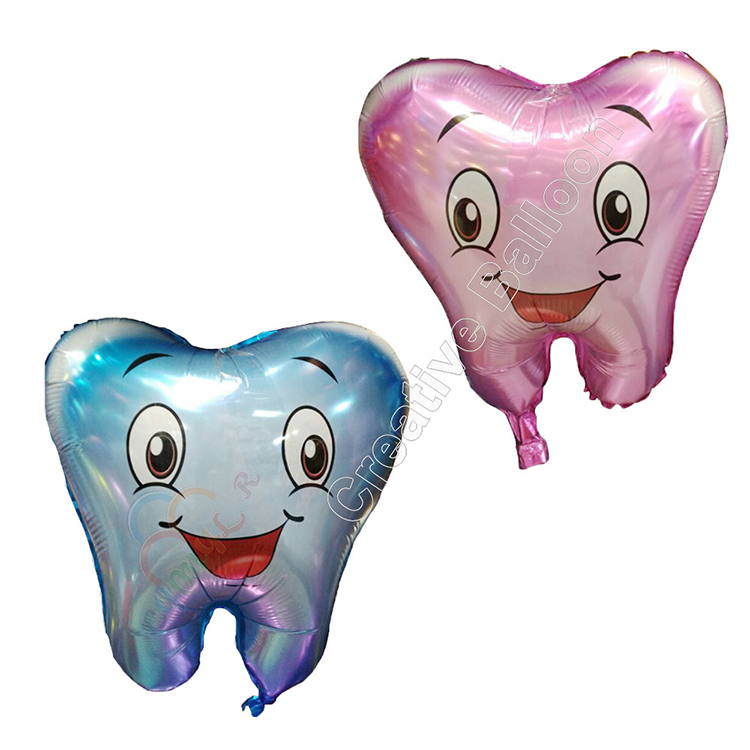 New diesgn inflatable helium tooth shape balloon toys foil tooth balloon for party decoration