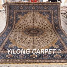 Yilong 9'x12' Large home rug 100% hand knotted persian qum silk carpet