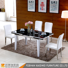 High quality black high gloss stretch wooden dining table in living room