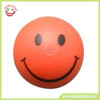 Various Sizes Promotional Cute Pu Foam Smile Face Anti Stress Ball