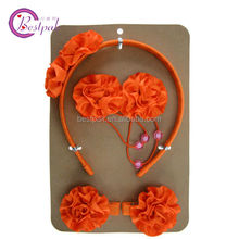 korean fashion girls orange flower hair accessories